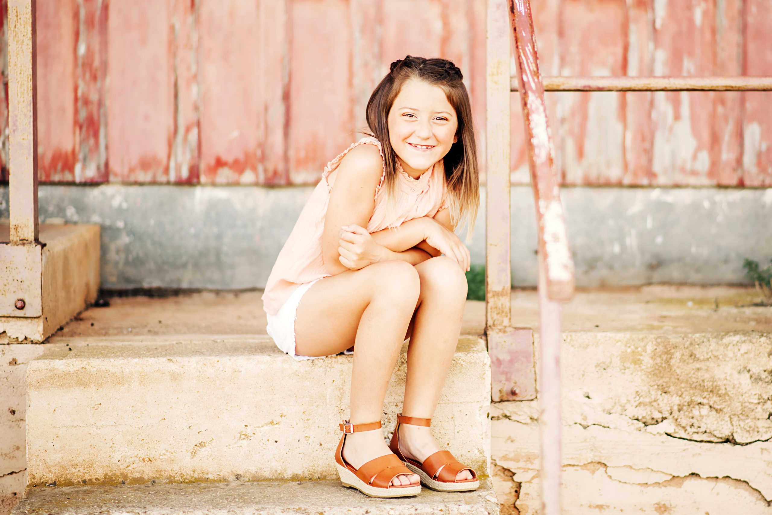 young girl in texas hilly country