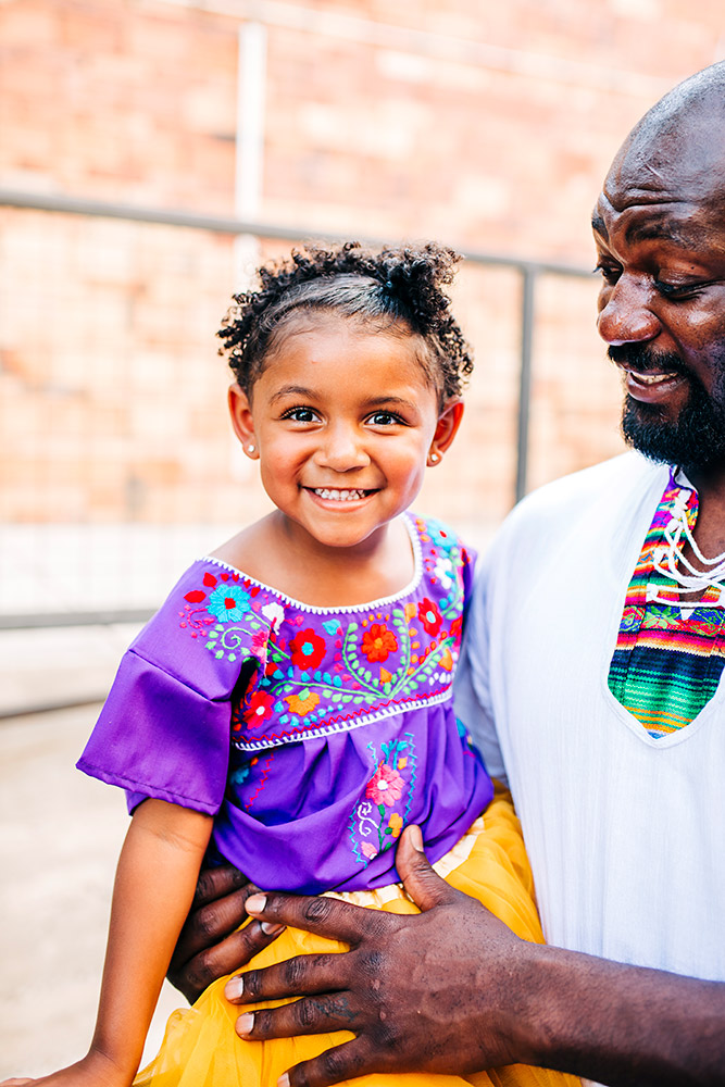 little girl and dad smiling in san antonio texas