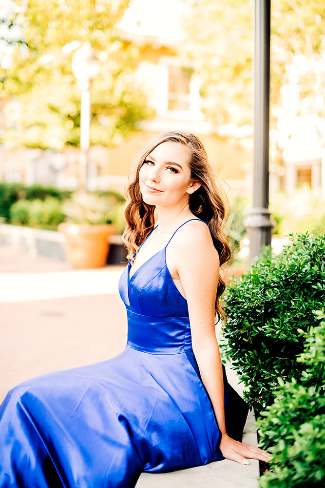 teen girl in blue dress in san antonio texas