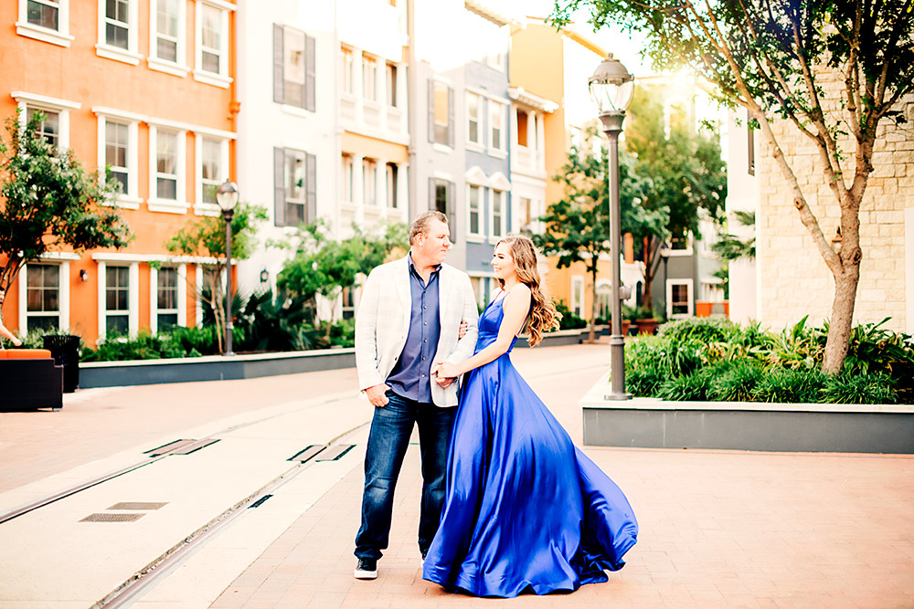 dad and teen daughter in blue dress in san antonio texas