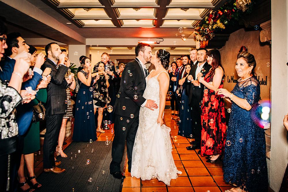bride and groom kissing in san antonio texas
