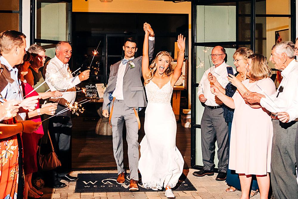 bride and groom exiting wedding in san antonio texas