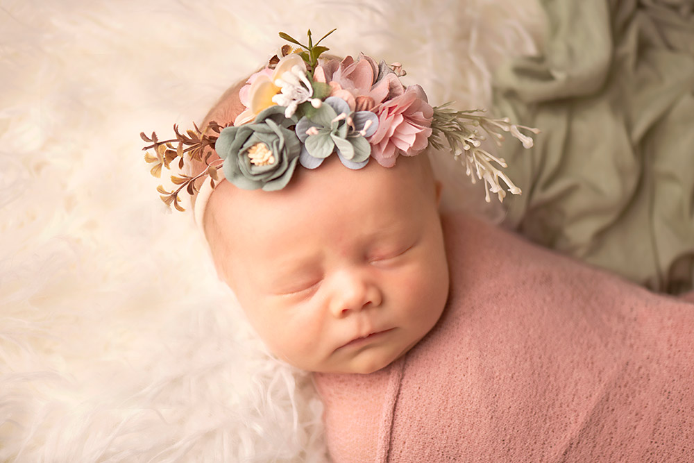 baby with flower headband in san antonio texas