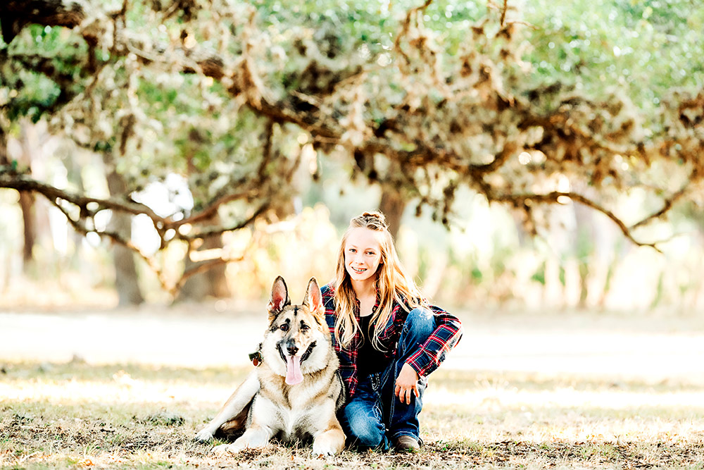 teen girl and dog in san antonio texas