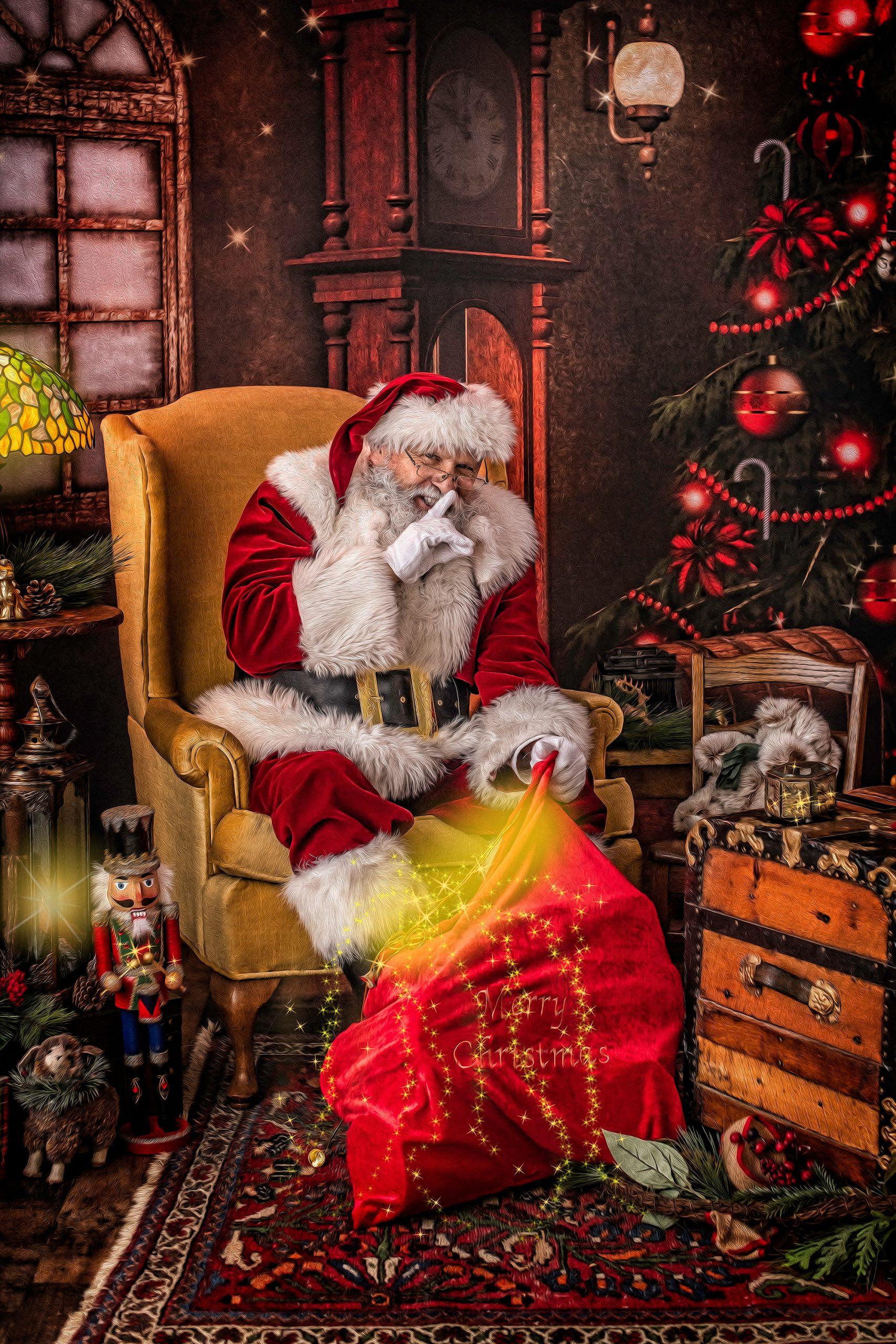 santa sitting in chair boerne and austin texas
